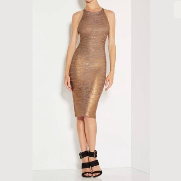 9a2ceb8e Herve Leger Dresses | Renata Woodgrain Foil Print Dress | Poshmark